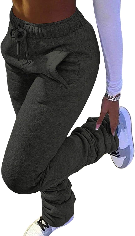 SHINFY Women Fleece Sweatpants High Waist Stacked Workout Leggin