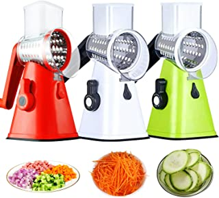 Multifunction Food Slicer Vegetable Chopper Manual Kitchen Cutter 3 in 1 Rotary Drum Grater Easy to Use Save Time for All ...