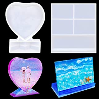 DELFINO Resin Mold for Photo Frame, Rectangle Heart Shape Silicone Epoxy Molds for Casting, Personalized Photo Frame Mold ...