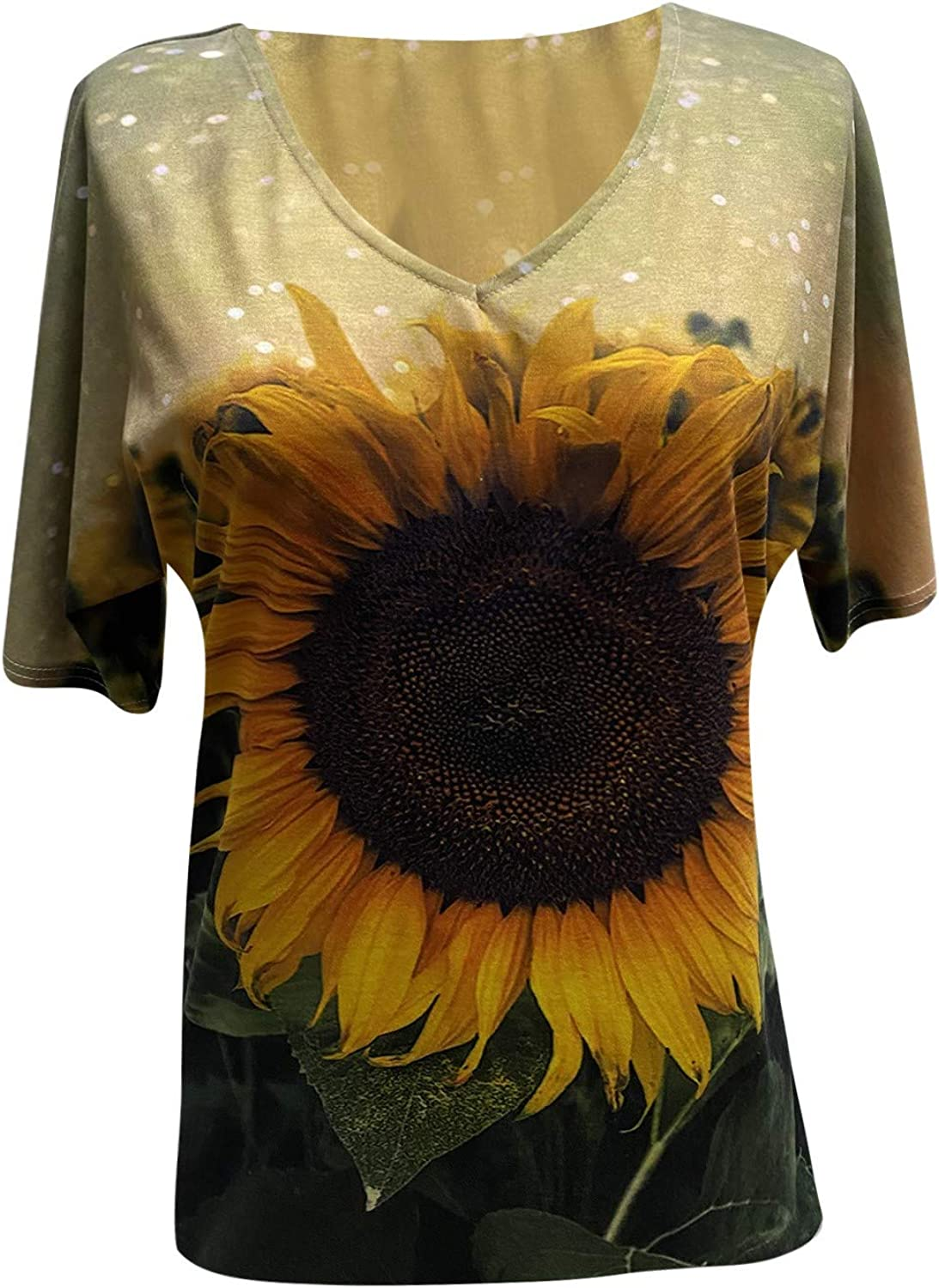 Blouses for Women Fashion Summer,Women Short Sleeve Graphic Cute Floral Printed Loose Casual Graphic Tee Shirt Blouses