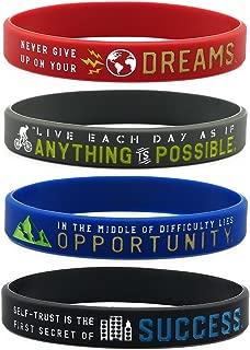 (12-Pack) Inspirational Bracelets with Positive Motivational Messages -