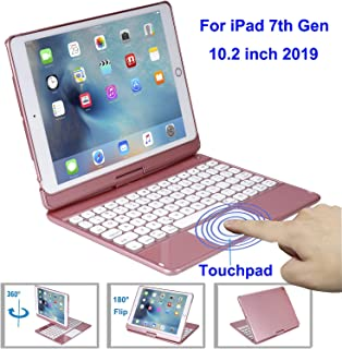 Touchpad Keyboard Case for iPad 10.2 Inch 2019, iPad 7th Generation Case with Keyboard, 360 Rotate -7 Color Backlit –Wireless – iPad 10.2 Case with Keyboard (Rose Gold)
