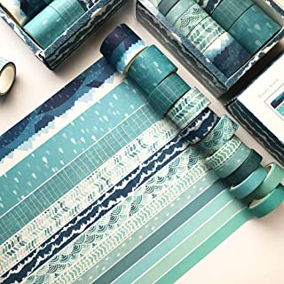 12 Rolls Washi Tape Set Blue Decorative Washi Masking Tape for Scrapbooking, Planners, Card/Gift Wrapping, DIY Decor and C...