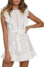 Fashiomo Women's Lace Floral Hollow Out Mini Dress Ruffle Tie Waist Summer Dress