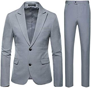 Plus Size Men's Formal Suit Slim 2-Piece Suit Blazer Business Wedding Party Jacket Coat & Pants
