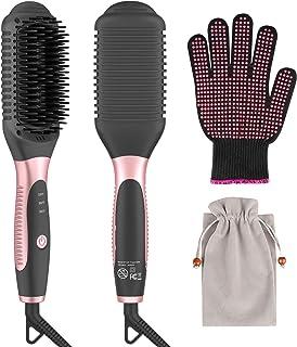 Bongtai Hair Straightener Heat Brush, 2-in-1 Ceramic Ionic Straightening Brush, Hot Comb with Anti-Scald Feature, Auto Temperature Lock & Auto-Off Function hot comb hair straightener(Pink)