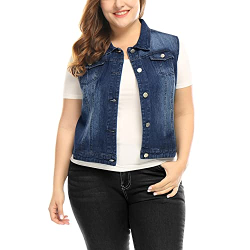 ecc4388006a7 uxcell Women's Plus Size Single Breasted Denim Vest with Two Flap Chest  Pockets