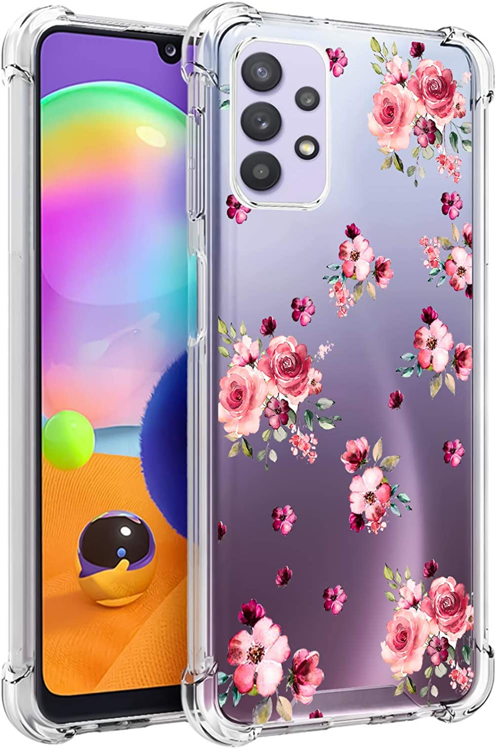 LSL Samsung Galaxy A32 5G Clear Case Pink Flowers Floral Cute Design Pattern Hard PC Back + Soft TPU Edges Full Body Protection Wireless Charging Cover for Galaxy A32 5G 6.5 Inch
