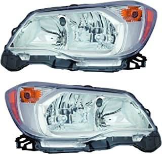 For 2014 2015 2016 Subaru Forester 2.5L Eng Headlights Headlamps Pair Set Replacement SU2502145 SU2503145