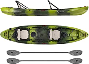 Vibe Kayaks Yellowfin 130T 13 Foot Tandem Angler and Recreational Two Person Sit On Top Fishing Kayak (Moss Camo) with 2 Paddles and 2 Hero Comfort Seats - Smoke Gray Evolve Paddles