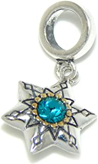 ICYROSE Solid 925 Sterling Silver Dangling Blue/Green CZ Star Charm Bead for European Snake Chain Bracelets
