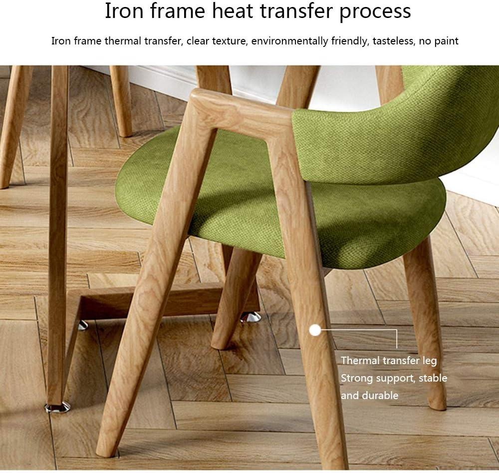 Bseack Chaise de Restaurant avec accoudoirs Ergonomie Chaise Longue Fer Transfert Thermique Cadre Repas de Tissu Sieges Capacité portante: 330 Livres (Color : Khaki) Green