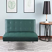 Bonzy Home Futon Sofa Chair - Premium PU Leather Futon Couch (Small) - Convertible Living Room Single Sofa for Small Space (Green)
