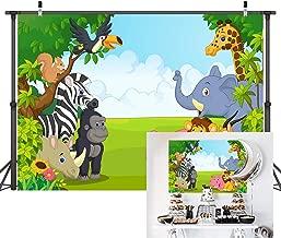Xingouchen 9x6ft Zoo Photography Backdrops Cartoon Safari Animals Background Happy Birthday Party Decoration Photography for Child Both Newborn Baby Shower Photoshoot