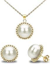 La Regis Jewelry 14k Yellow Gold 9-9.5mm Freshwater Cultured Pearl Beaded Pendant and Stud Earrings Set