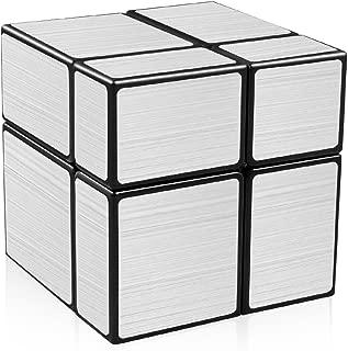 D-FantiX Shengshou Mirror Cube 2x2 Speed Unequal Cube Shape Puzzles Silver Black