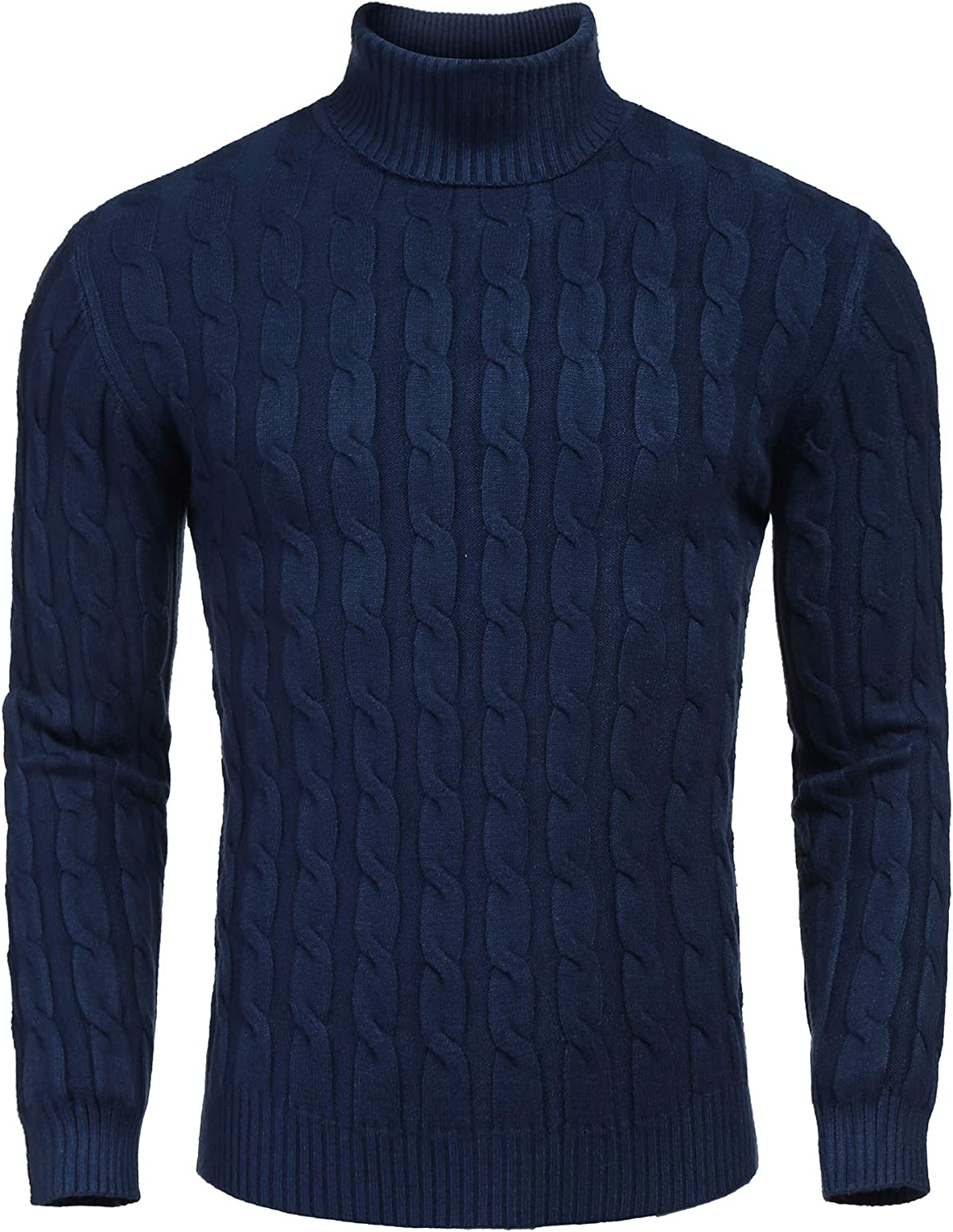 COOFANDY Men's Slim All Fresno Mall items free shipping Fit Turtleneck Casual Twisted Knitte Sweater