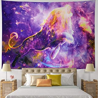 Lion Tapestry Meteor Roaring Lion Wall Tapestry Indian Hippie Psychedelic Leo Wall Hanging Universe Galaxy Purple Starry Lion Tapestry
