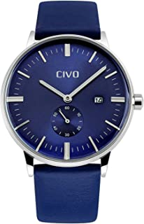 CIVO Mens Watches Leatehr Waterproof Blue Watch Men Date Calendar Simple Design Wrist Watches Casual Business Dress Fashion Classic Analogue Quartz Watches for Men
