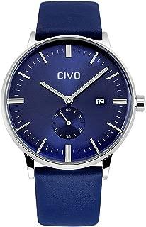 CIVO Mens Watches Leatehr Waterproof Blue Watch Men Date Calendar Simple Design Wrist Watches Casual Business Dress Fashion Classic Analogue Quartz Watches for Men