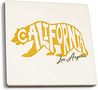 Lantern Press Los Angeles, California - Bear Outline - Typography (Set of 4 Ceramic Coasters - Cork-Backed, Absorbent)