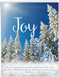 Big Merry Christmas Greeting Card - 'Holiday Devotions' Gorgeous Image of Religious Xmas Sentiment Written Over Beautiful Landscape - (Jumbo Size 8.5 x 11 Inch with Envelope) J6661HXSG