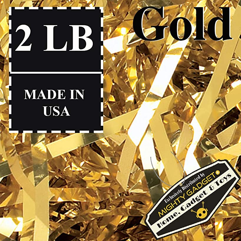 Mighty Gadget (R) 2 LB Fine Cut Gold Metallic Crinkle Cut Paper Shred Filler for Gift Wrapping & Basket Filling in a Box