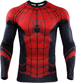 torbollo Men's Sports Compression Shirt Long Sleeve Super Hero Shirt for Running Yoga Sports Cosplay Base Layer