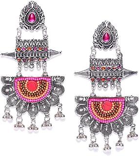 8662374ea TARBIYA KRAFT Oxidised Silver-Toned Pink & Orange Contemporary Drop Earring  Afghani Tribal Fancy Earrings