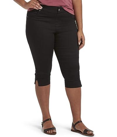 HUE Plus Size Ultra Soft Denim High-Waist Short Capris (Black) Women
