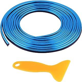 Qiilu Tiras de molduras interiores del coche Panel de instrumentos de la puerta de ventilación Línea de decoración flexible de las ruedas del volante(azul)