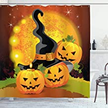 Ambesonne Halloween Shower Curtain by, Witches Hat Spooky Pumpkins Magical Night Autumn Nature Full Moon, Fabric Bathroom Decor Set with Hooks, 70 Inches, Light Orange Green Black