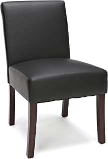 Essentials Executive Guest Chair - Armless Leather Reception Chair, Black (ESS-9020-BLK)