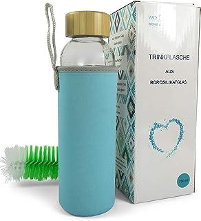 Wenburg Wolton Botella de Vidrio 550 ml / 750 ml + Cepillo de Limpieza, cantimplora/Botella de Cristal para Agua, zumos, té, licuados. Adecuado para Adultos, niños