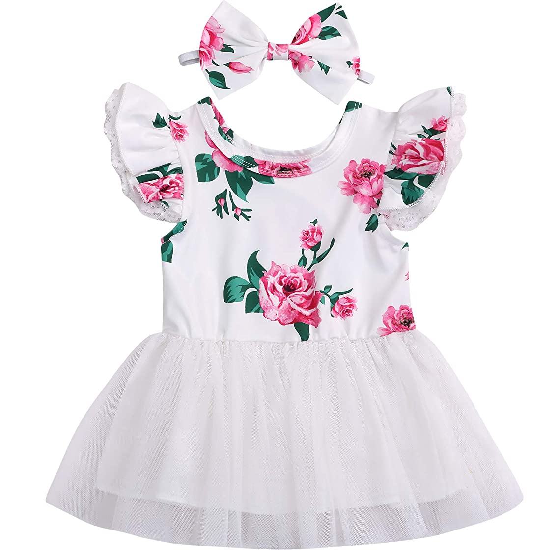 Baby Girls Floral Tutu Dress Toddler Ruffle Sleeve Tulle Dress+Bow Headband Flower Princess 2Pcs Outfit