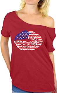 Awkward Styles Women's USA Flag Lips Cool Off Shoulder Tops T Shirt 4th of July Gift Independence Day