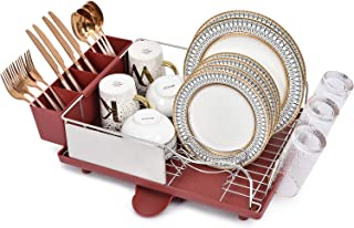 Kingrack Escurreplatos de acero inoxidable, estante de secado de platos con marco antioxidante, diseño opcional de 2 direcciones, extraíble y grande, soporte para utensilios de cocina, color rojo