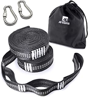 ArtiGifts Hammock Tree Straps Set with 2 Carabiners, Heavy Duty & Adjustable Suspension System Kit for Outdoor Camping - 9ft, 1500lbs Capacity, No-Stretch & Easy Setup, 2 Pack, Black