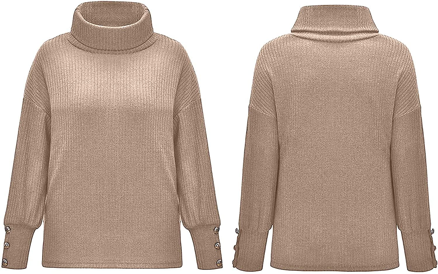 Women's Turtleneck Solid Color Sweaters Casual Long Sleeve Oversized Pullover Chunky Loose Fit Knit Tops with Buttons
