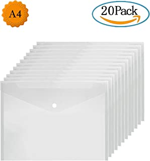 Carpeta A4 Transparente 20 Unidades Carpetas Plastico Dossieres Transparentes Carpeta Sobre con Botón para Almacenamiento de Documentos