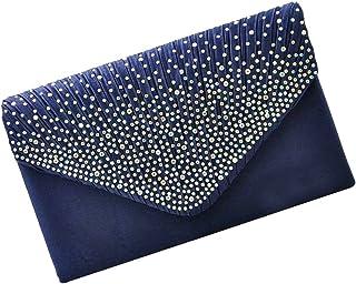 5a4ffcbb95 Satin Pochette Mariage Soirée Sac à Main Bandouliere Chaine Diamant Bal Sac  à Main - Bleu