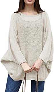 Womens Batwing Sleeves Crew Neck Plain Knit Pullover Sweater