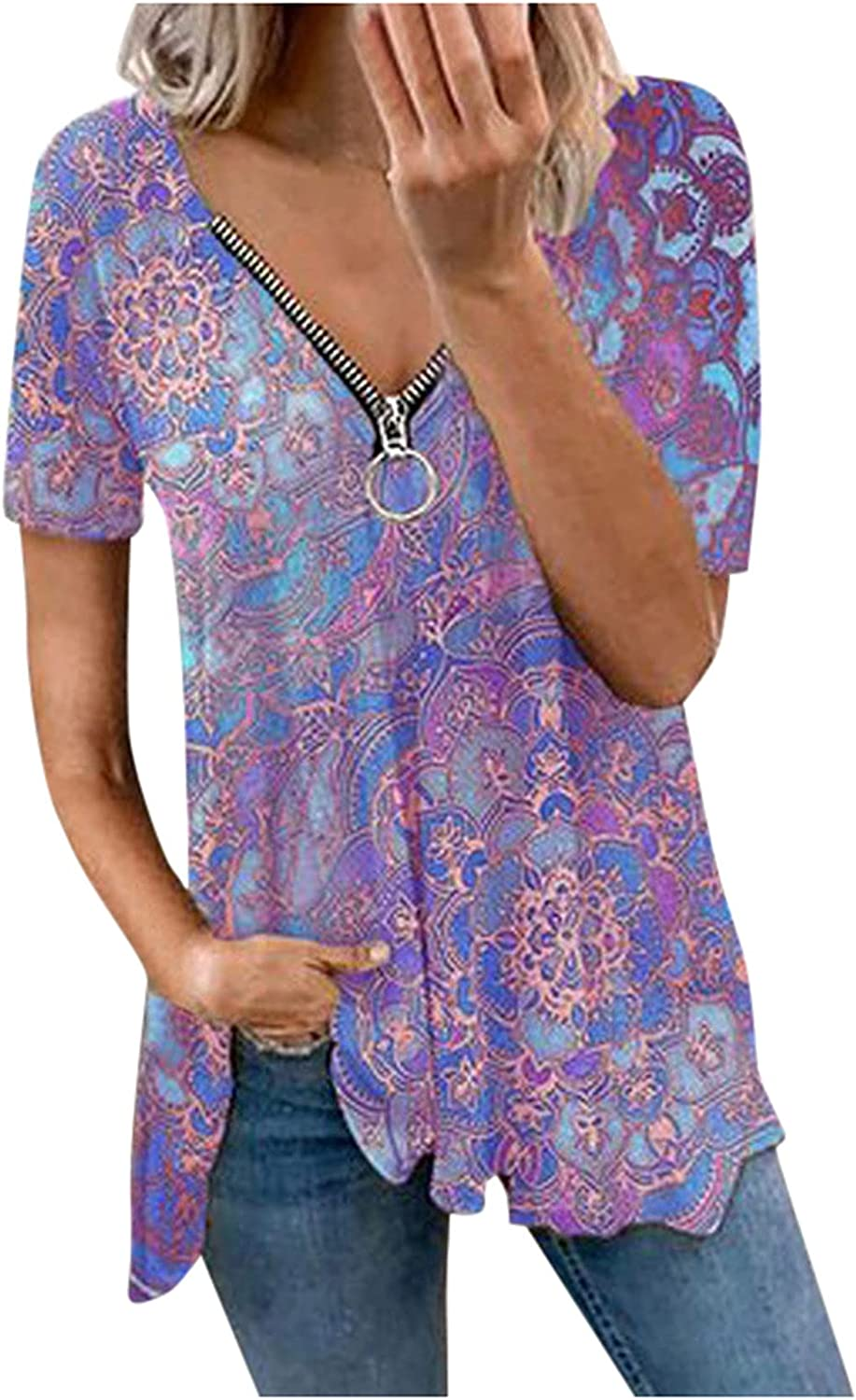 Fankle Plus Size Printed Pleated Tunics Tops for Women, Sexy Short Sleeve T Shirts Summer Casual Blouses with Zipper