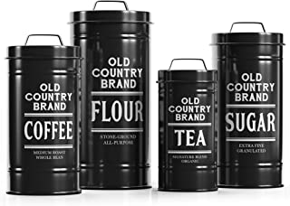 """Barnyard Designs Decorative Nesting Kitchen Canister Jars with Lids, Black Metal Rustic Vintage Farmhouse Container Decor for Flour Sugar Coffee Tea Storage, Set of 4, Largest is 5.5"""" x 11.25"""""""