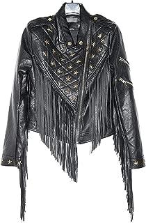 Winter Female Short Paragraph Slim Pu Leather Motorcycle Beading Tassel Leather Jacket