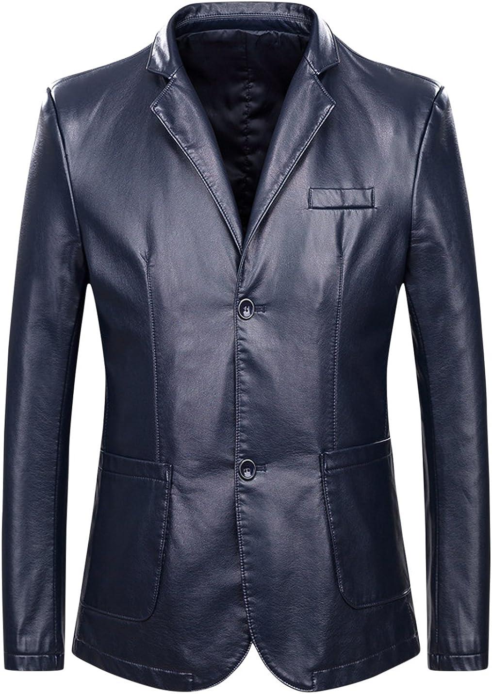 Springrain Men's Slim Lapel Buttons Up Business Outerwear PU Faux Leather Jackets