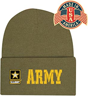 Army Green Offically Licensed US USA Star Embroidered Beanie Cap Stocking Hat Military