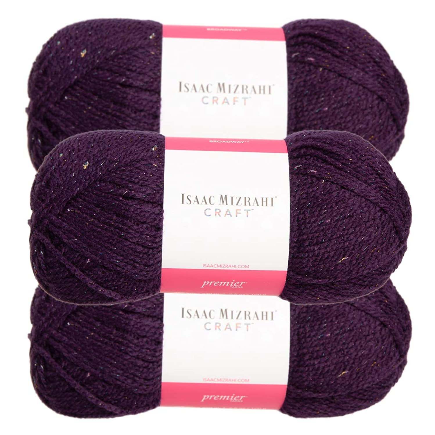 Premium Yarns (3 Pack Isaac Mizrahi Broadway Acrylic Soft Ambassador Purple Yarn for Knitting Crocheting #4 Medium