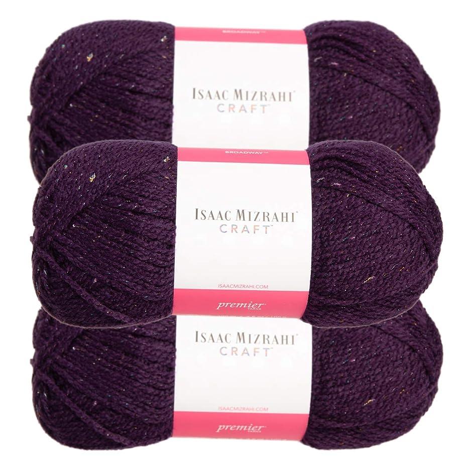 Premium Yarns (3 Pack Isaac Mizrahi Broadway Acrylic Soft Ambassador Purple Yarn for Knitting Crocheting #4 Medium