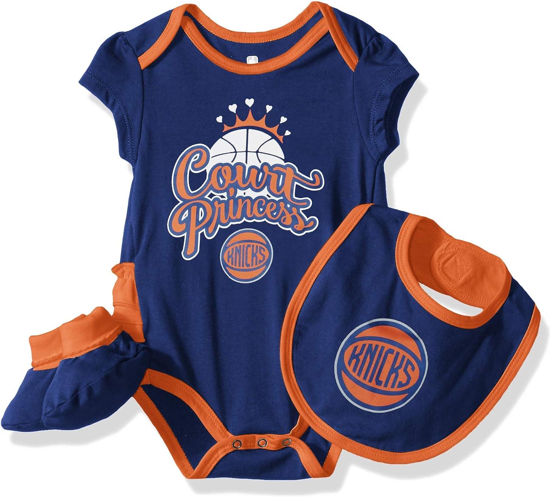 NBA Unisex-Baby Mini Trifecta Bodysuit, Bib & Bootie Set